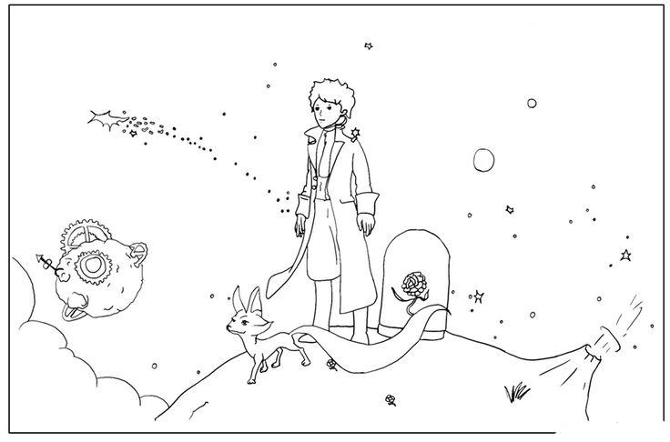 раскраска маленький принц де Сент Экзюпери распечатать