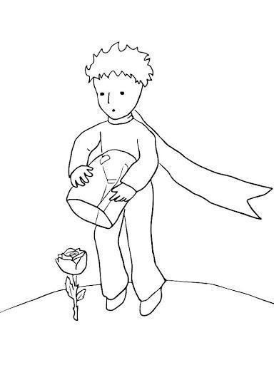 раскраска маленький принц и роза распечатать