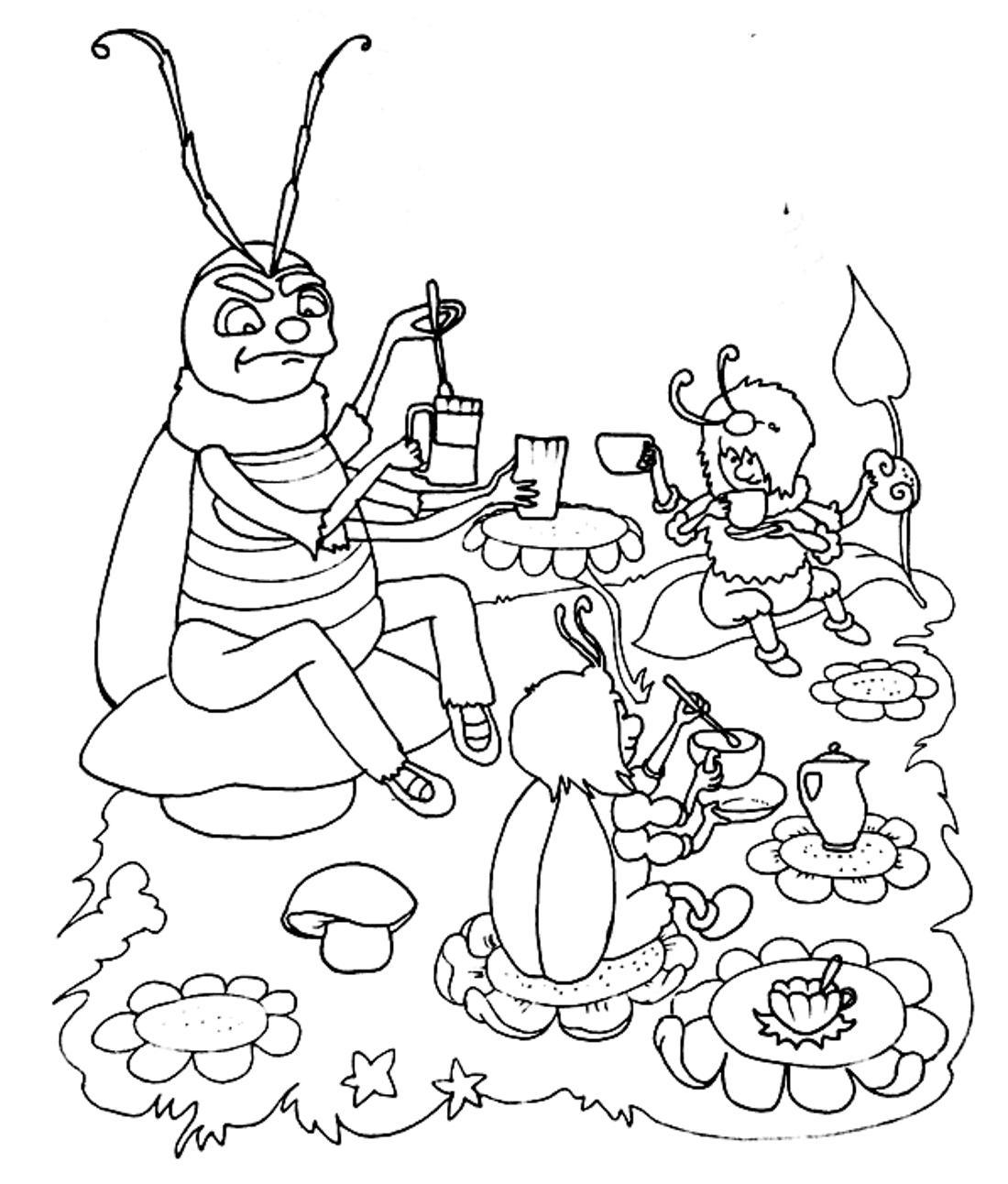 раскраска муха цокотуха крупные картинки распечатать