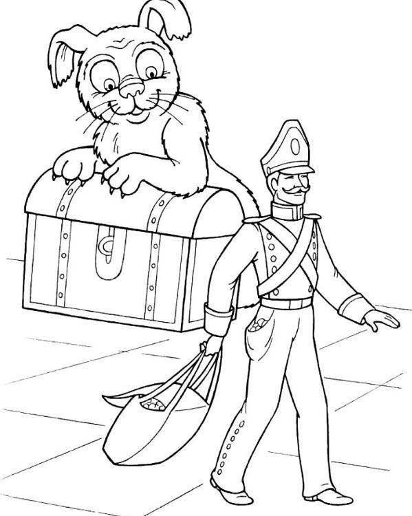 Раскраска Огниво распечатать бесплатно по сказке Андерсена