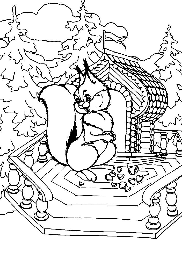 раскраска сказка о царе салтане белочка орешки грызет распечатать