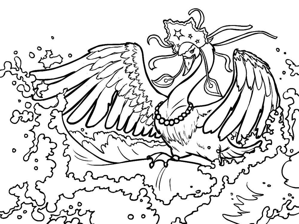 сказка о царе салтане раскраска лебедь распечатать
