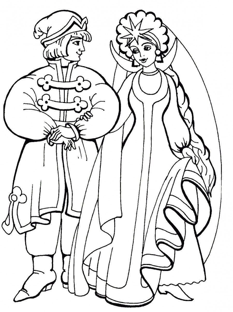 сказка о царе салтане рисунки раскраски гвидон и царевна лебедь распечатать