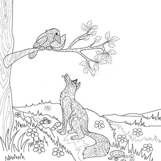 Раскраска Ворона и лисица распечатать бесплатно