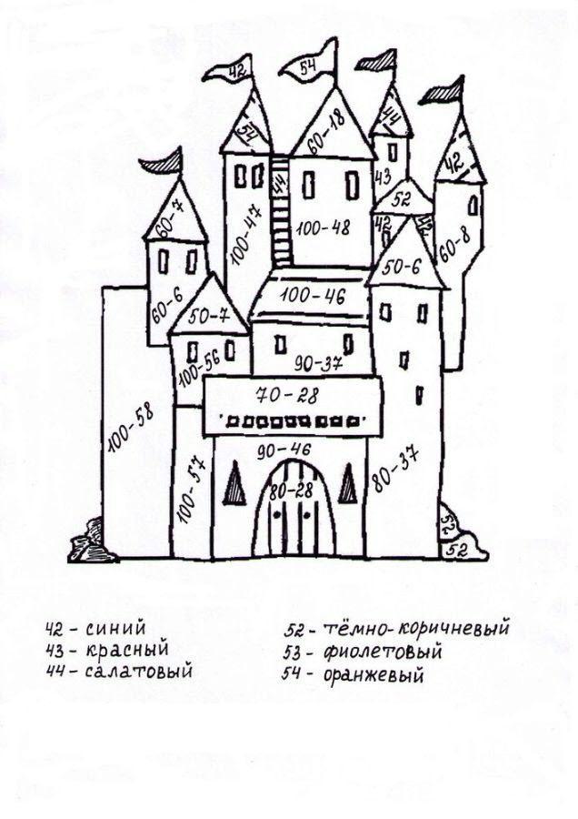 математические раскраски для 2 класса в пределах 100
