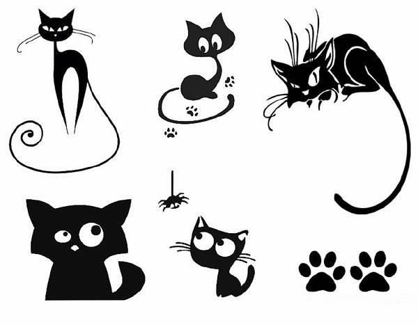 шаблон кошки трафарет для вырезания из бумаги распечатать