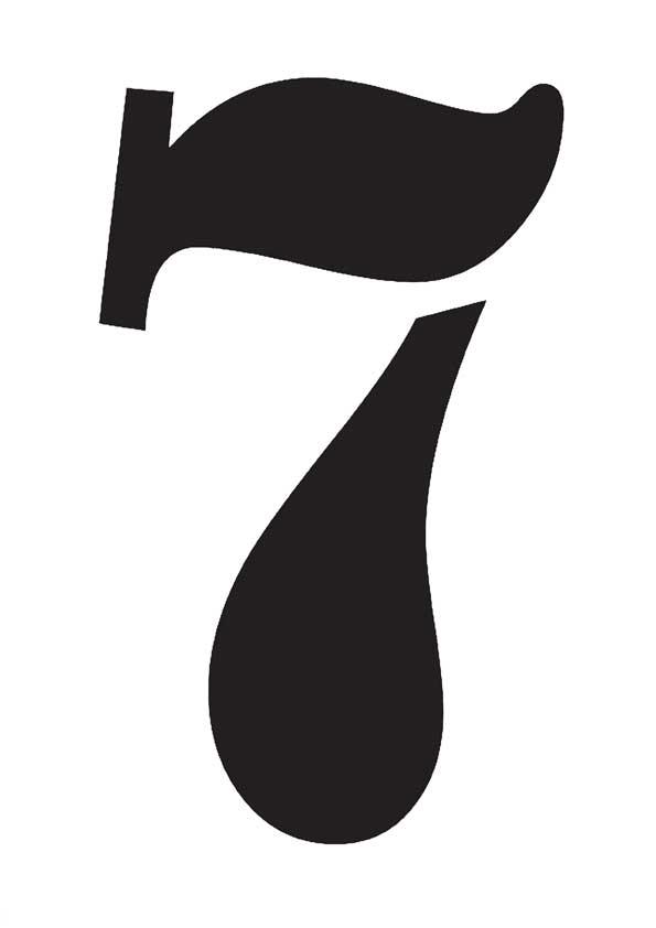 цифра 7 шаблон трафарет для вырезания из бумаги распечатать
