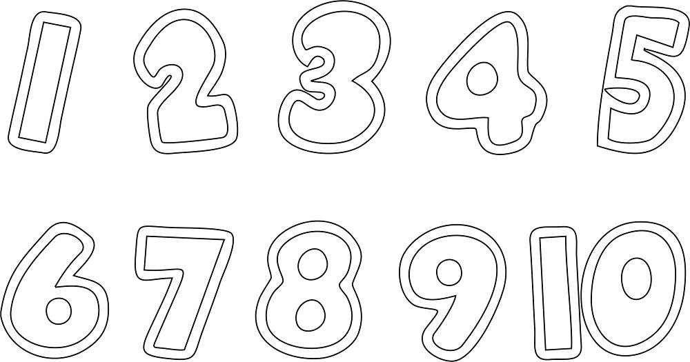 трафарет цифр от 1 до 10 распечатать