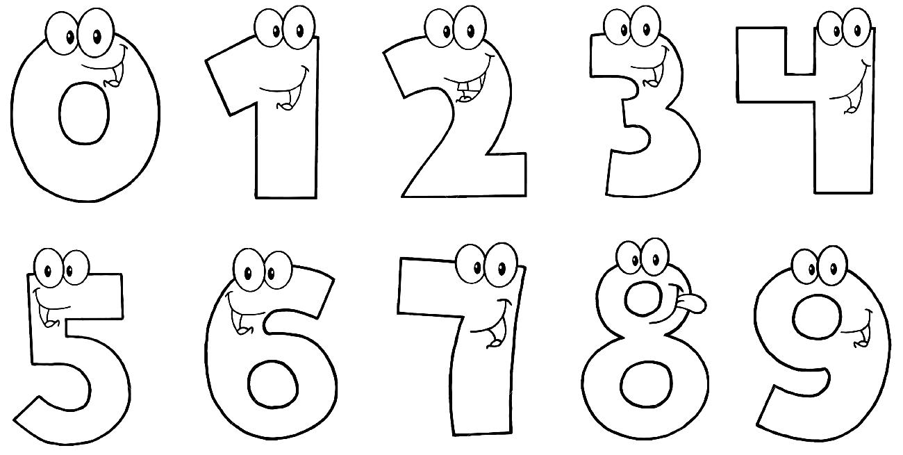 распечатать трафарет цифр от 1 до 10