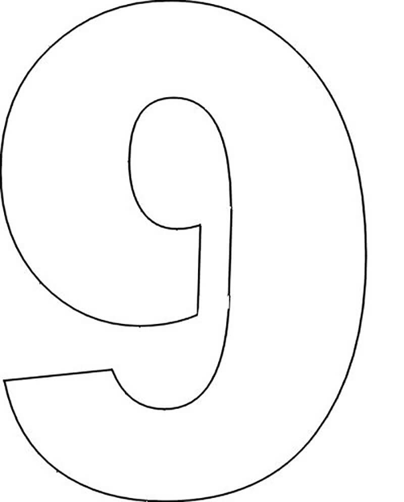 цифра 9 шаблон трафарет для вырезания из бумаги распечатать
