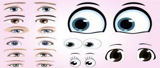 шаблон и трафарет глаза для вырезания