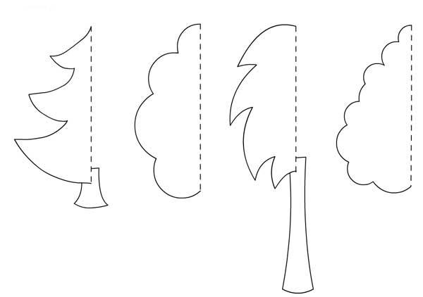 дерево весна аппликация из бумаги для детей шаблоны распечатать трафарет
