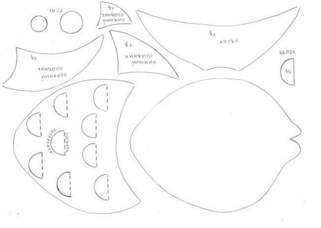 рыбка аппликация из бумаги для детей шаблоны распечатать трафарет