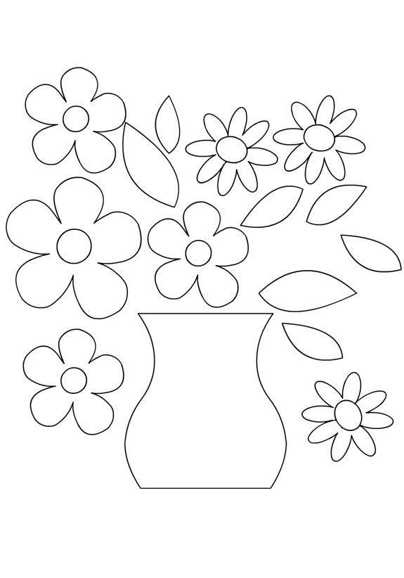 ваза с цветами аппликация из бумаги для детей шаблоны распечатать трафарет