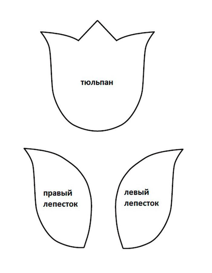 тюльпан аппликация из бумаги для детей шаблоны распечатать трафарет