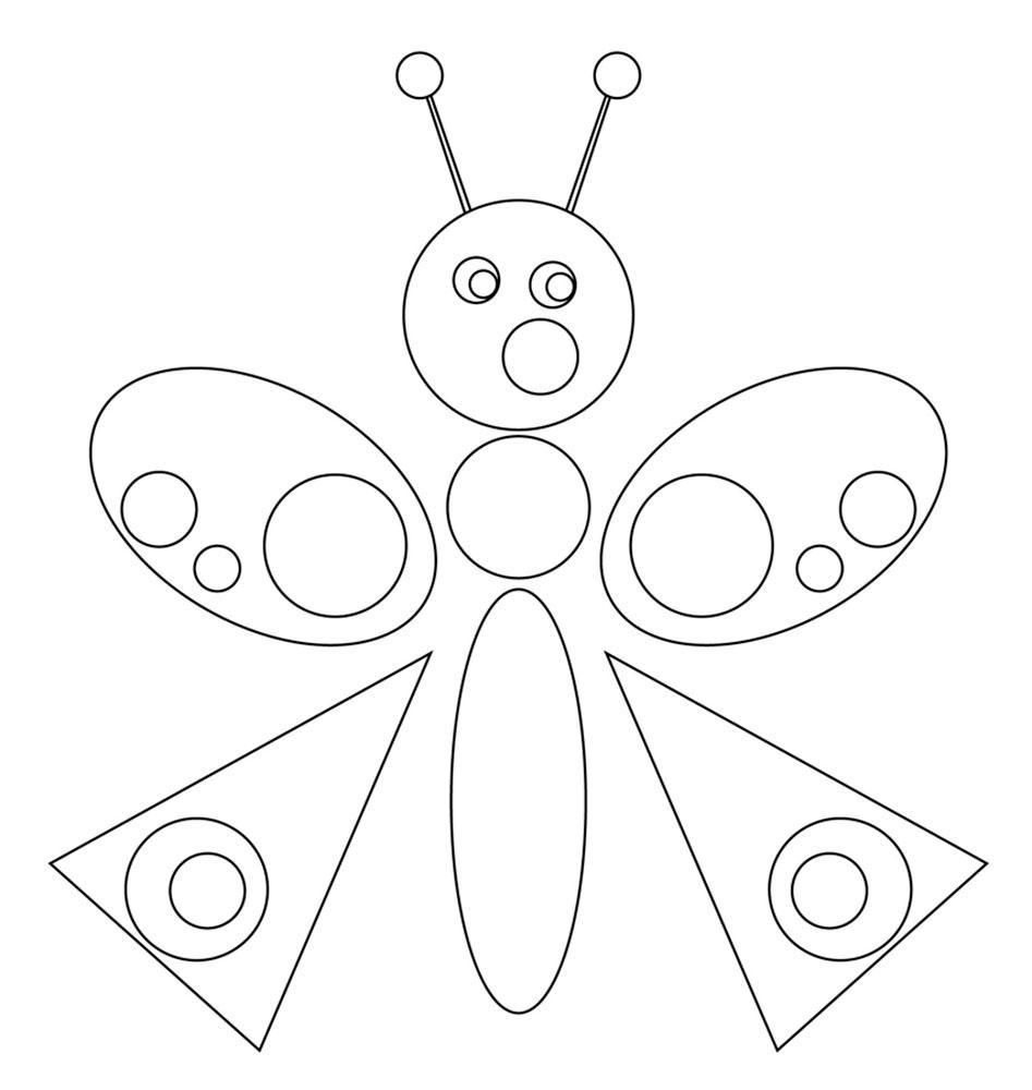 муха аппликация из бумаги для детей шаблоны распечатать трафарет