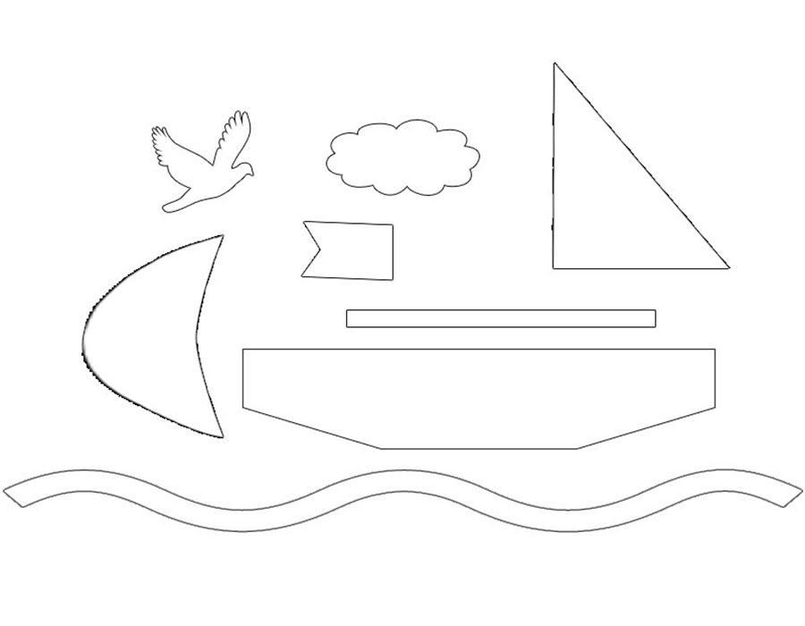кораблик аппликация из бумаги для детей шаблоны распечатать трафарет