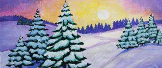 раскраска зимний лес для детей распечатать бесплатно