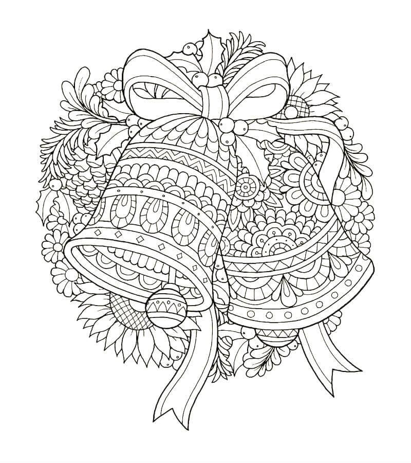 раскраска новогодние колокольчики распечатать бесплатно