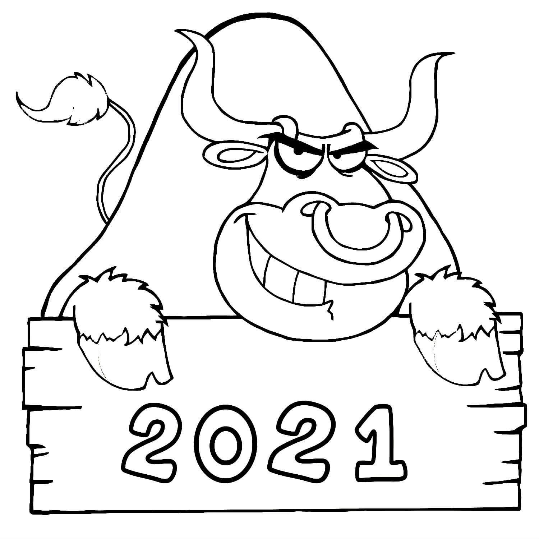 раскраски на новый год 2021 распечатать бык