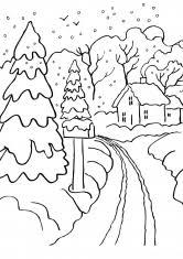 раскраска зима пейзаж распечатать бесплатно