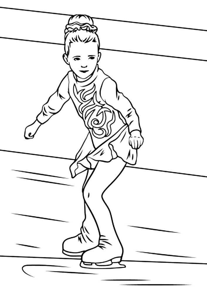 девочка на коньках раскраска распечатать бесплатно