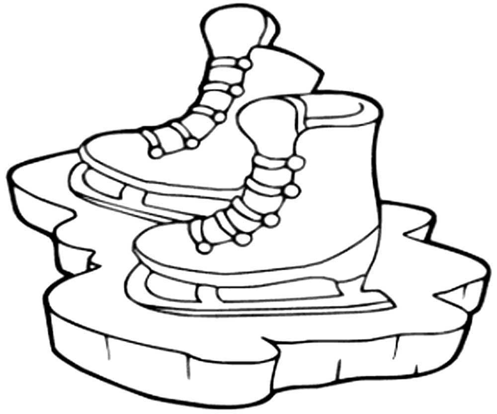 коньки хоккейные раскраска распечатать бесплатно