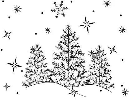 снегопад раскраска для детей распечатать
