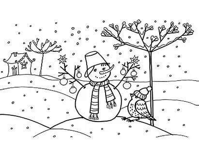 раскраска зимний день для детей распечатать