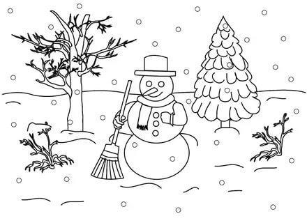 раскраска зимний день распечатать бесплатно