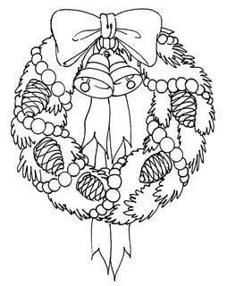 раскраска новогодний венок с бантом распечатать бесплатно
