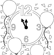 раскраска новогодние часы со стрелками распечатать бесплатно