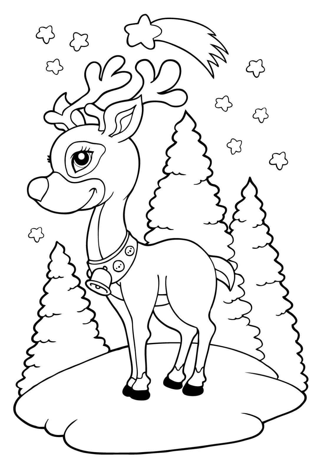 раскраска новогодний олень распечатать бесплатно