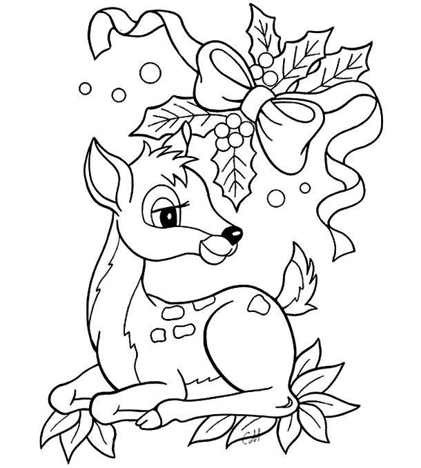 раскраска новогодний олень для детей распечатать бесплатно