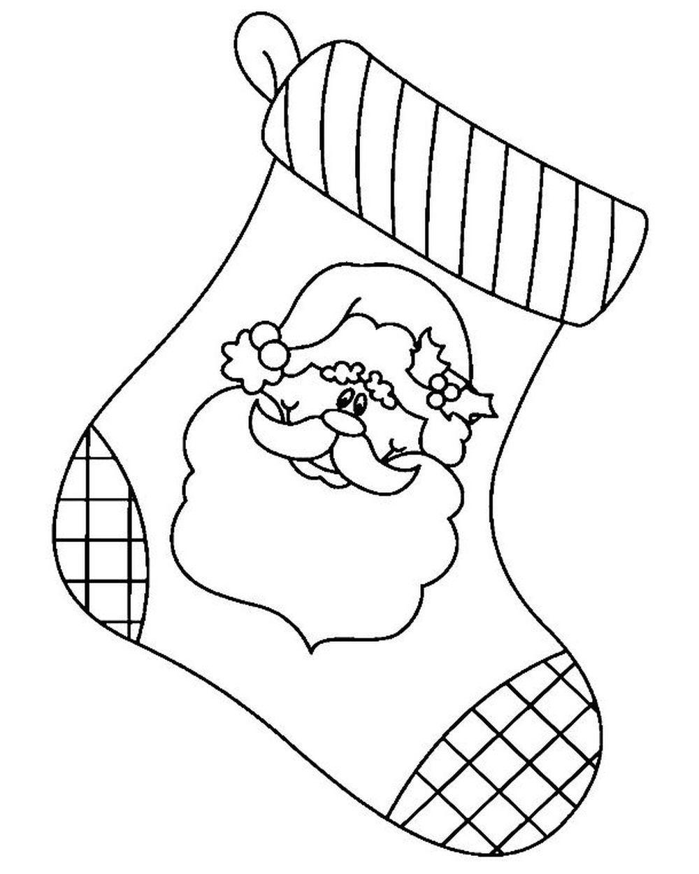 раскраска новогодний носок распечатать