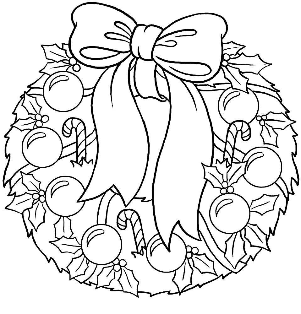 раскраска новогодний венок распечатать бесплатно