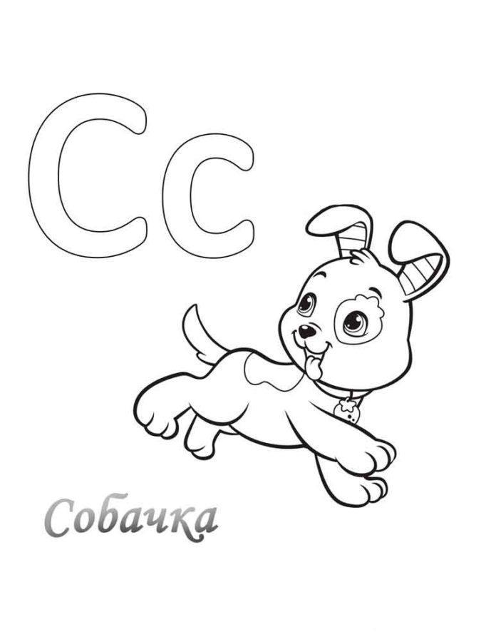 раскраска буква с для детей распечатать бесплатно