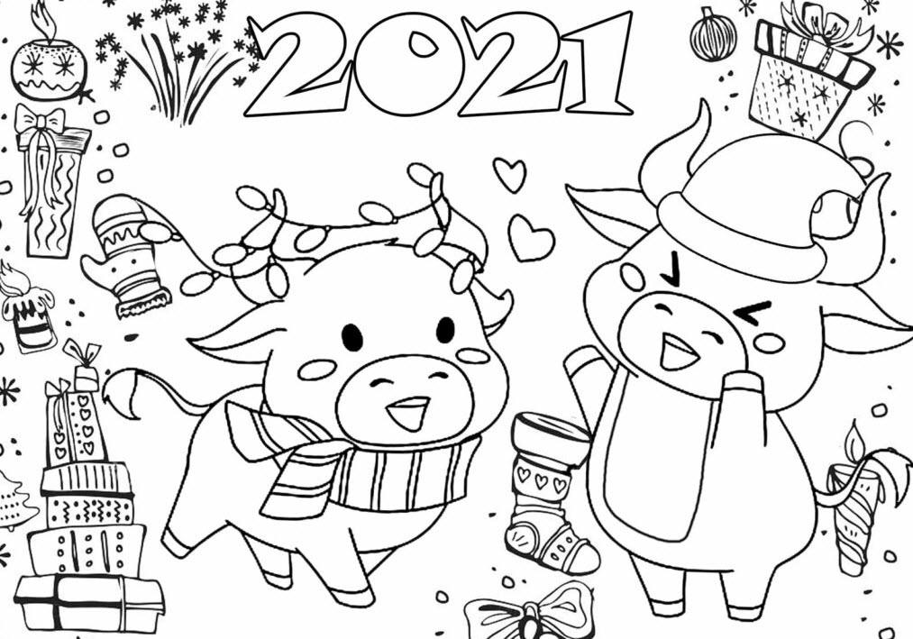 раскраски на новый год 2021 распечатать
