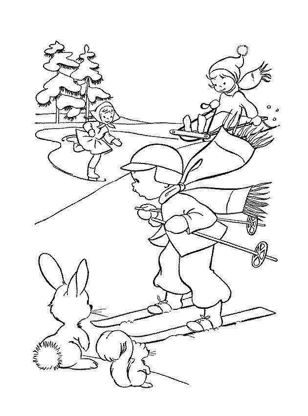 раскраска зимние забавы для детей распечатать бесплатно