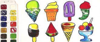 Раскраска Мороженое распечатать бесплатно
