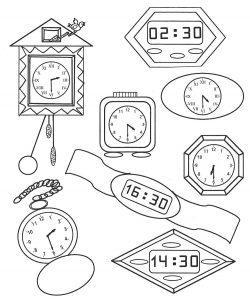 раскраска часы для детей распечатать