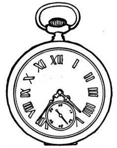 раскраска часы карманные распечатать