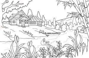 раскраска деревня летом  распечатать