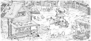 раскраска плакат деревня для детей распечатать