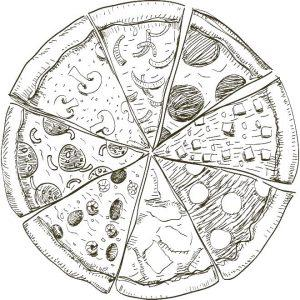 раскраска пицца для детей распечатать