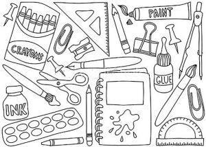 раскраска школьные принадлежности распечатать бесплатно