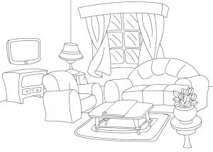 раскраска комната с мебелью для детей распечатать
