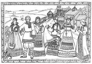 Раскраска Русский народный костюм