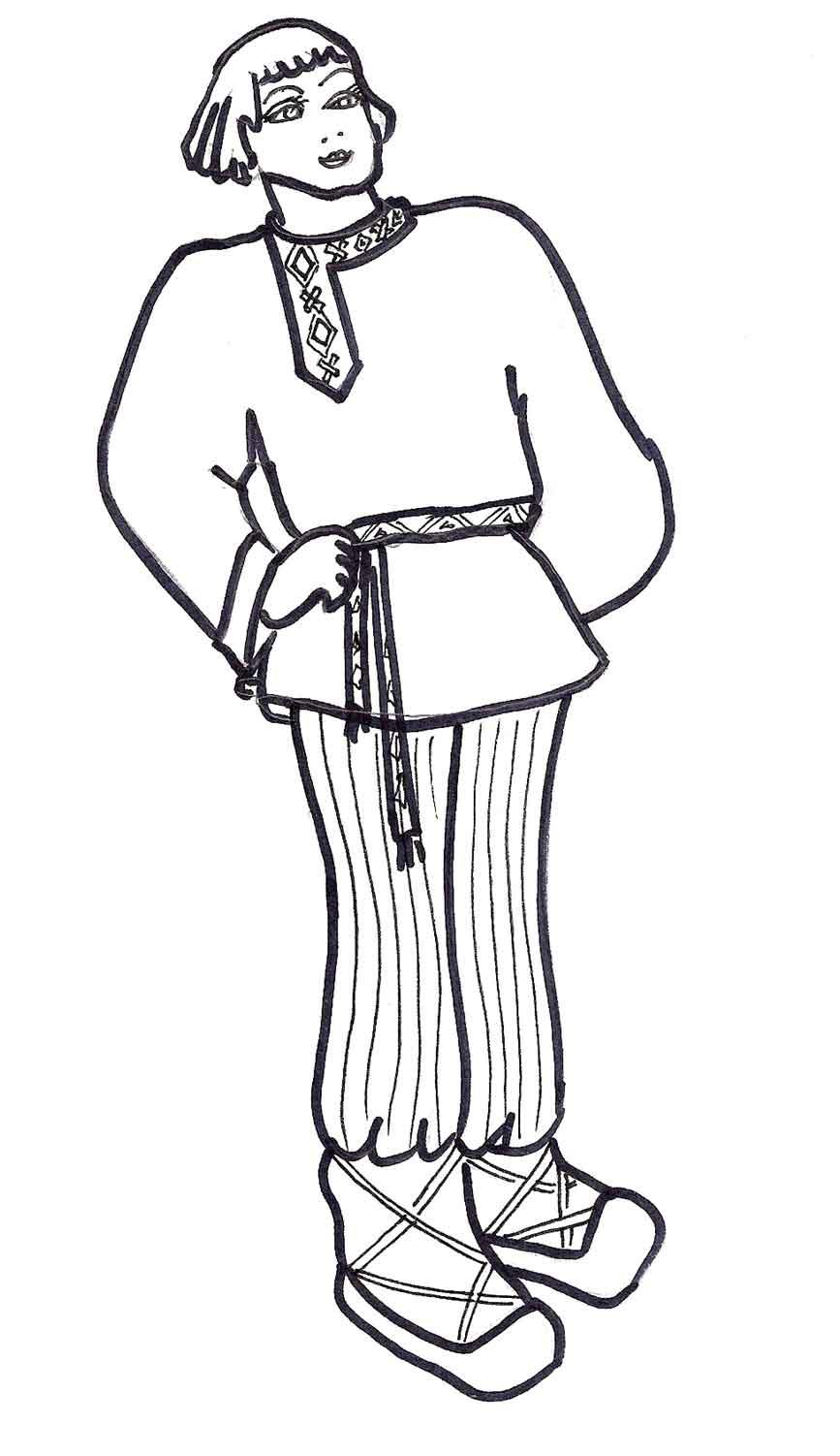 раскраска русский народный костюм мужской распечатать