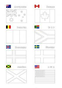 раскраска флаги стран мира с названиями